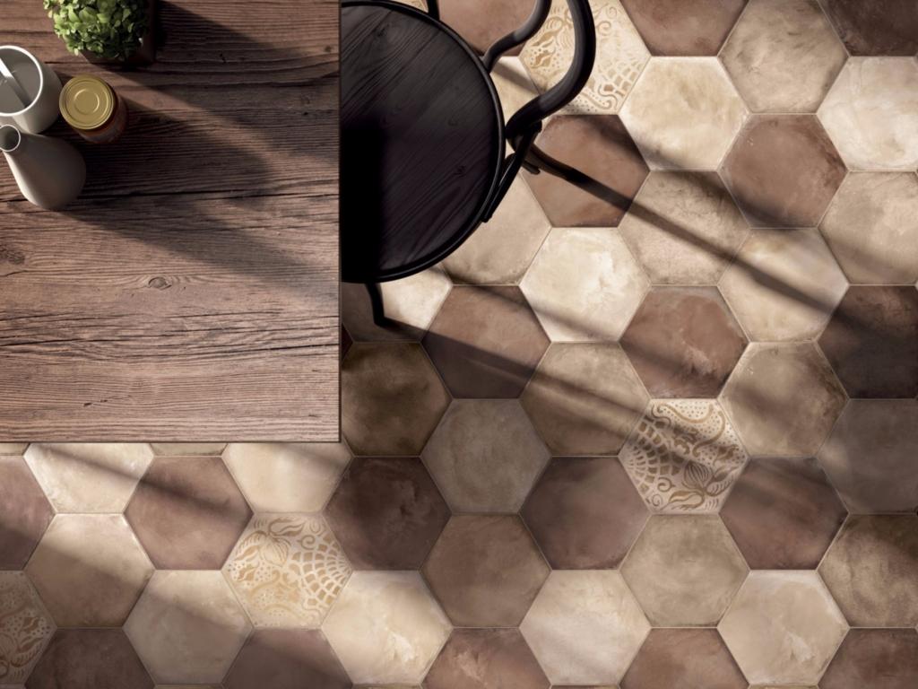 series Retro šestiúhelníková dlažba Marca Corona Terra Ocra, Rosso, Avorio & Mix Decor Esagono C.