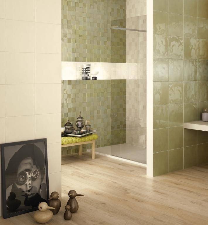 series Obklady koupelna levně Naxos Shard Sqaure Grey / Shard Check Willow