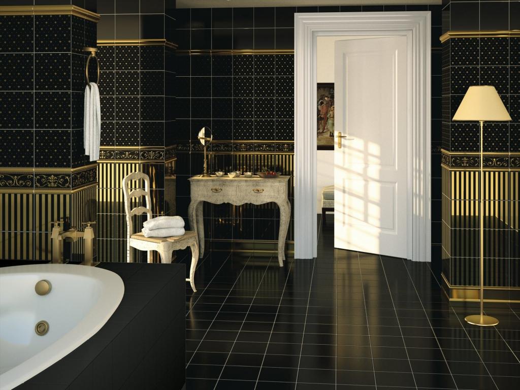 series Černá koupelna s pozlacením APE Dandy