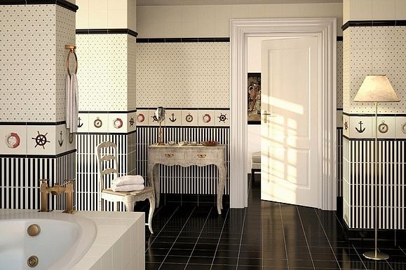 series Bíločerné koupelnové obklady v barokním stylu Apegrupo Lord