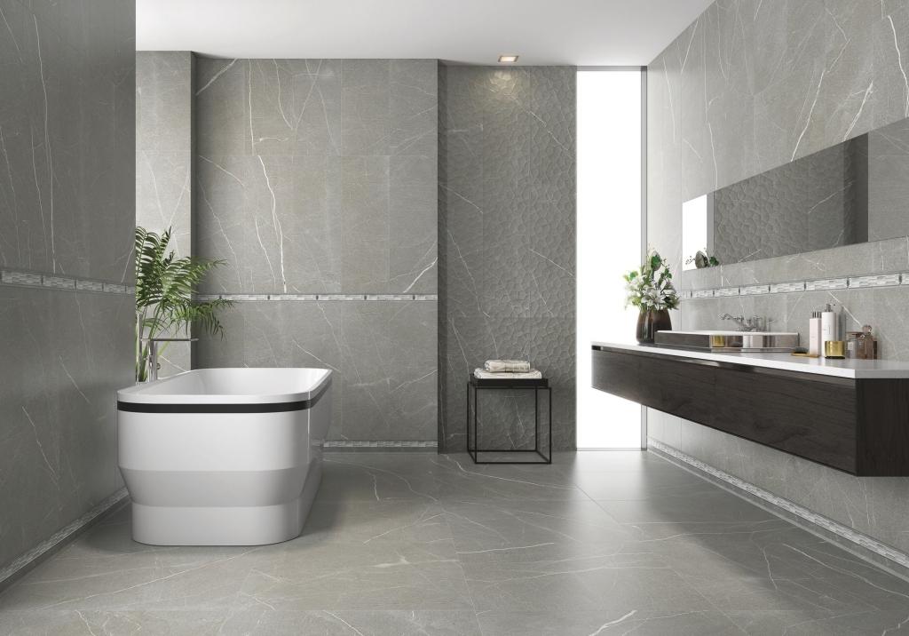 series Šedý obklad do koupelny s imitací mramoru série Baltimore od firmy APE