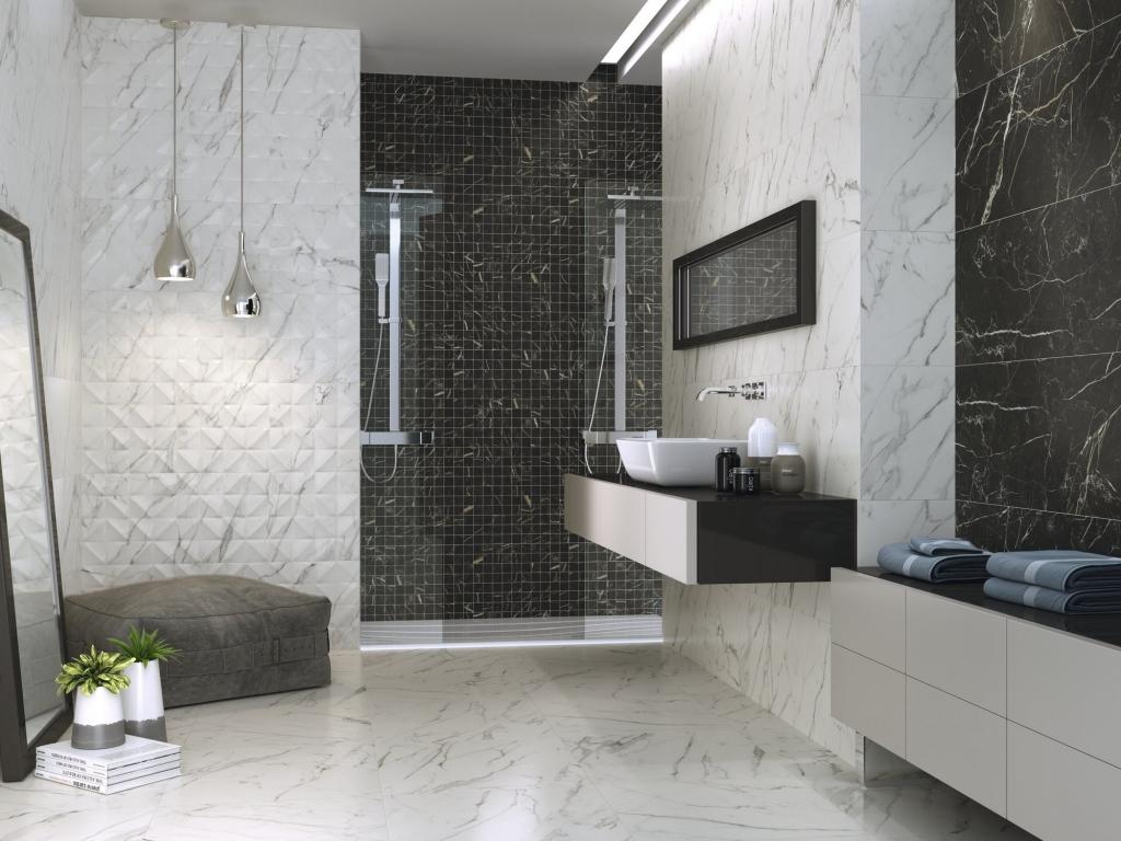 series Mramorový obklad s přeloženými čtverečky do koupelny od výrobce Ape Apogeo