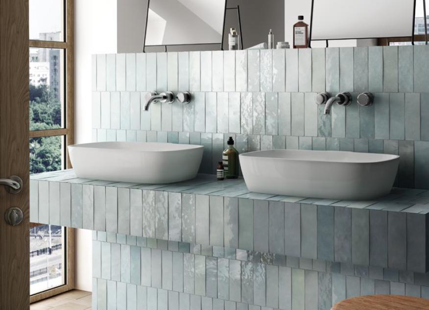 series Lesklé světle modré obklady do koupelny Equipe Artisan
