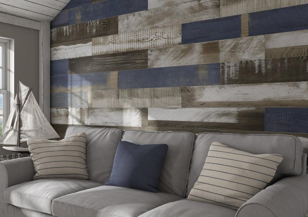 series Interiérový obklad v přírodním vzhledu dřeva s modrou barvou od výrobce Ape April