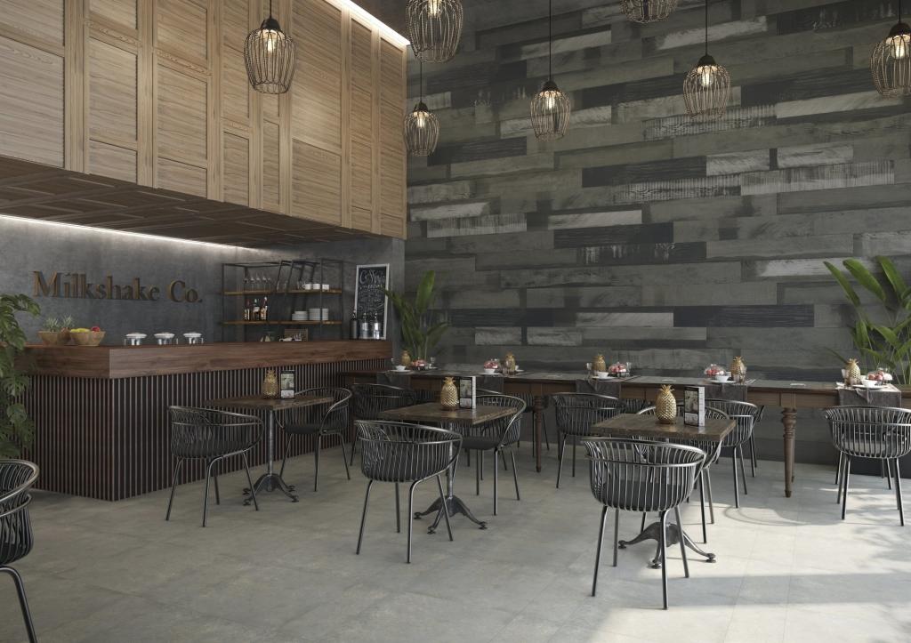 series Tmavší obklad se strukturou dřeva do baru od výrobce Ape April