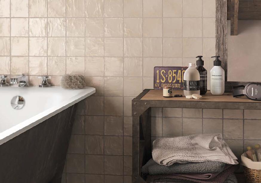 series Krémové retro obklady do koupelny Equipe Mallorca