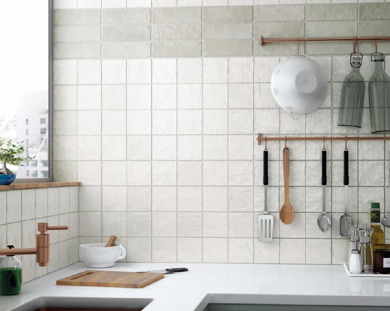 series Retro obklady do kuchyně v bílé a zelené barvě Equipe Mallorca