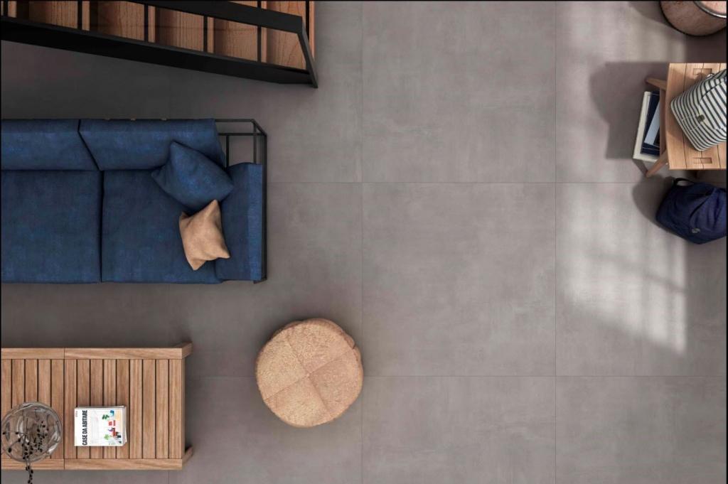 series Šedá velkoformátová dlažba bez vzorů do interiérů od výrobce Ecoceramic Baltimore