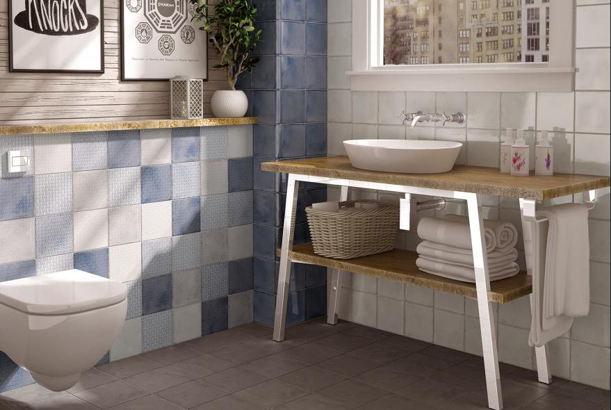 series Modrobílá retro koupelna Equipe Splendours