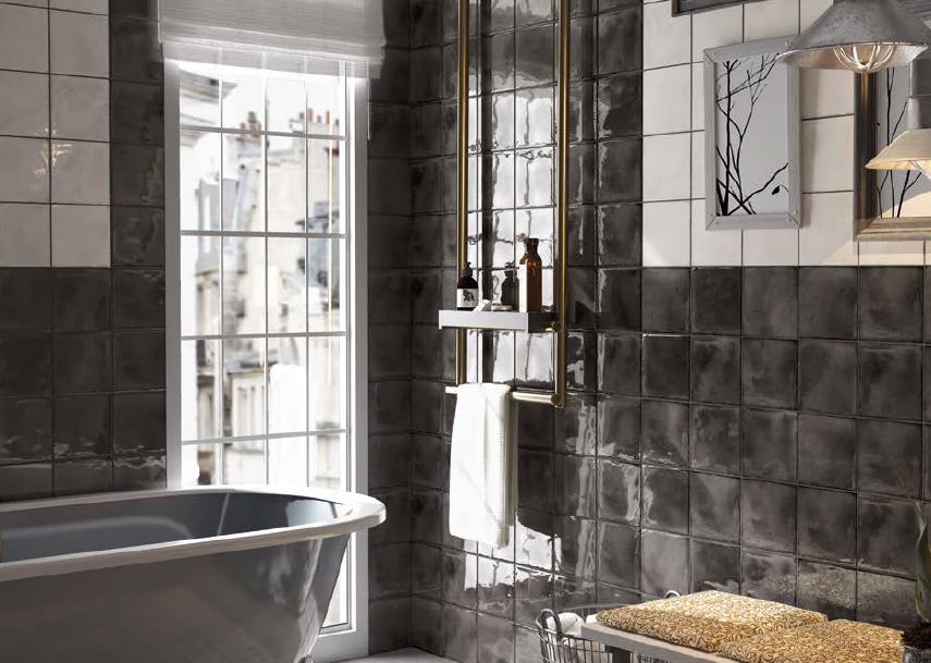 series Bílé a černé obklady do koupelny s patinou Equipe Splendours
