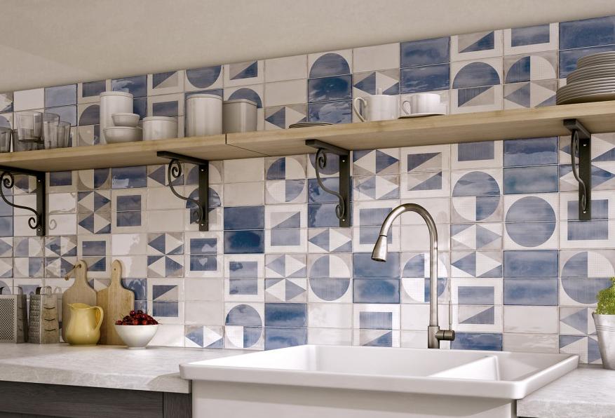 series Modrobílé kuchyňské obklady s geometrickým vzorem Equipe Splendours