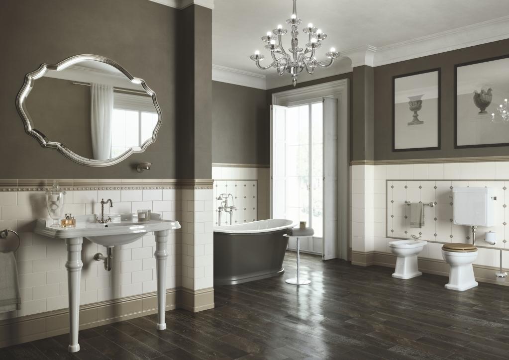series Obklad do luxusní velké koupelny Ceramiche Grazia Amarcord Beige a Tobacco