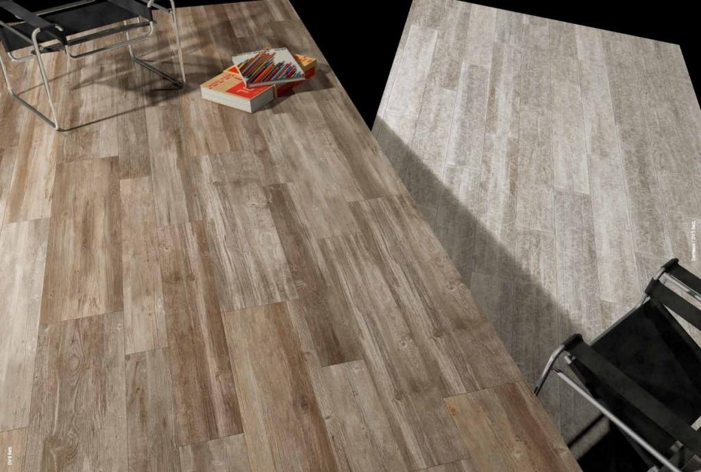 series Dlažba imitace dřeva působící teplým dojmem Del Conca Da Vinci  DV9 + DV5