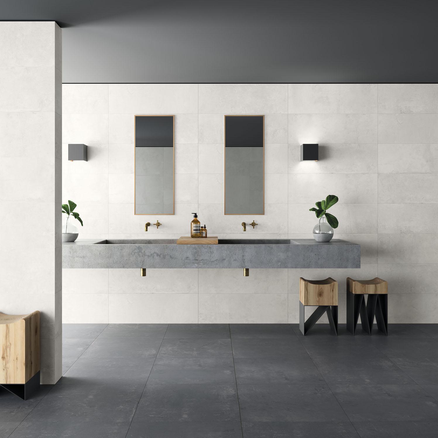 series Supermoderní koupelna imitace betonové stěrky Aleluia Ceramicas Série Plaster