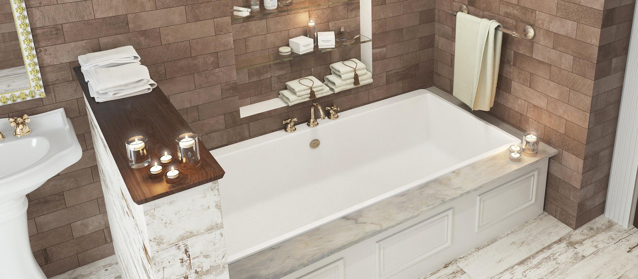 series Neobvyklý obklad do koupelny v retro stylu, který lze použít i jako dlažbu - cihličky 10x30 Avenue Brown (HUP9)