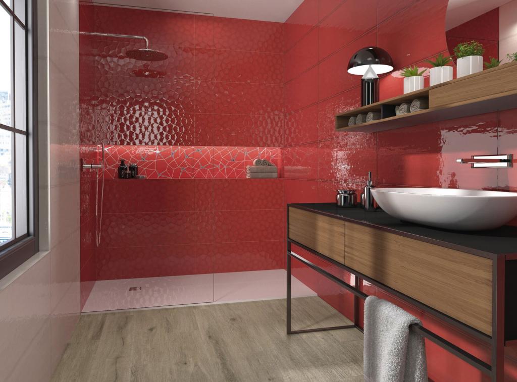 series Lesklý červený obklad do koupelny Ape Allegra