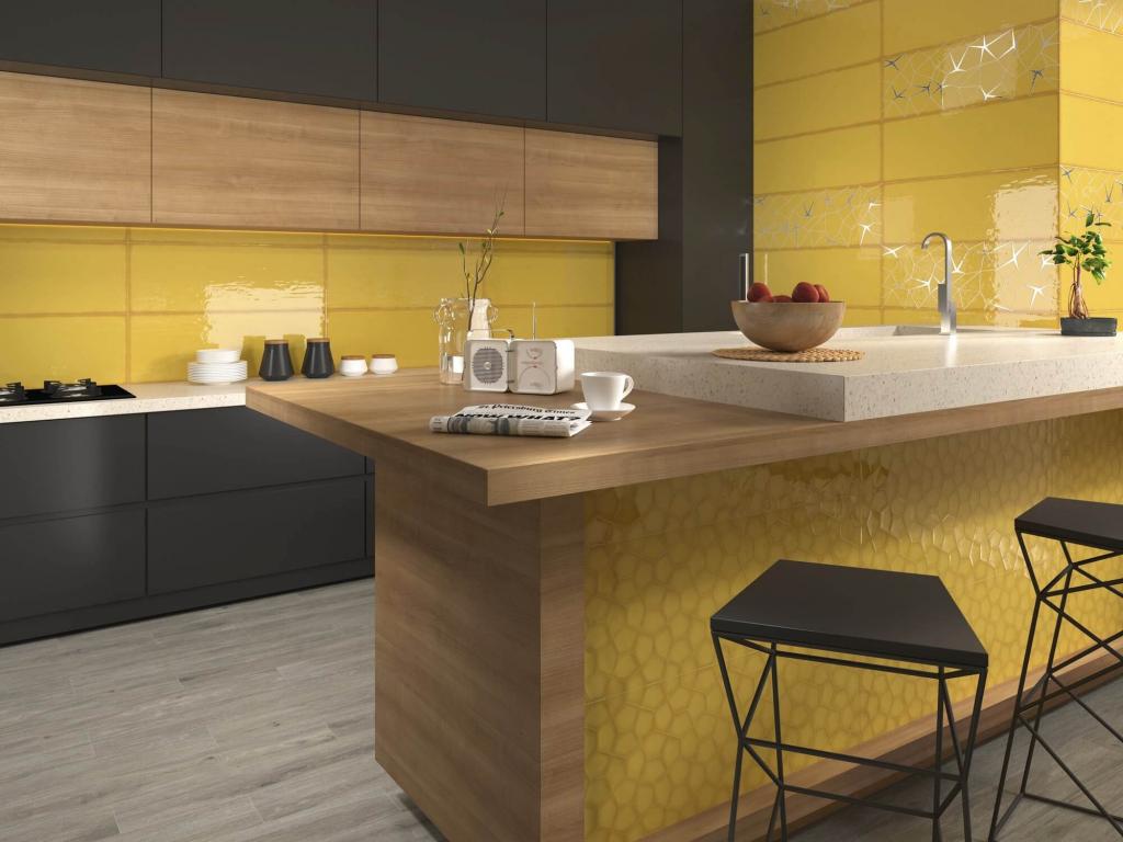 series Lesklý žlutý obklad do kuchyně Ape Allegra