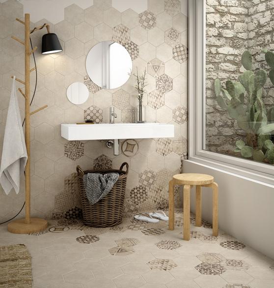 series Béžové šestiúhelníkové obklady a dlažba s dekorem Equipe Hexatile Cement