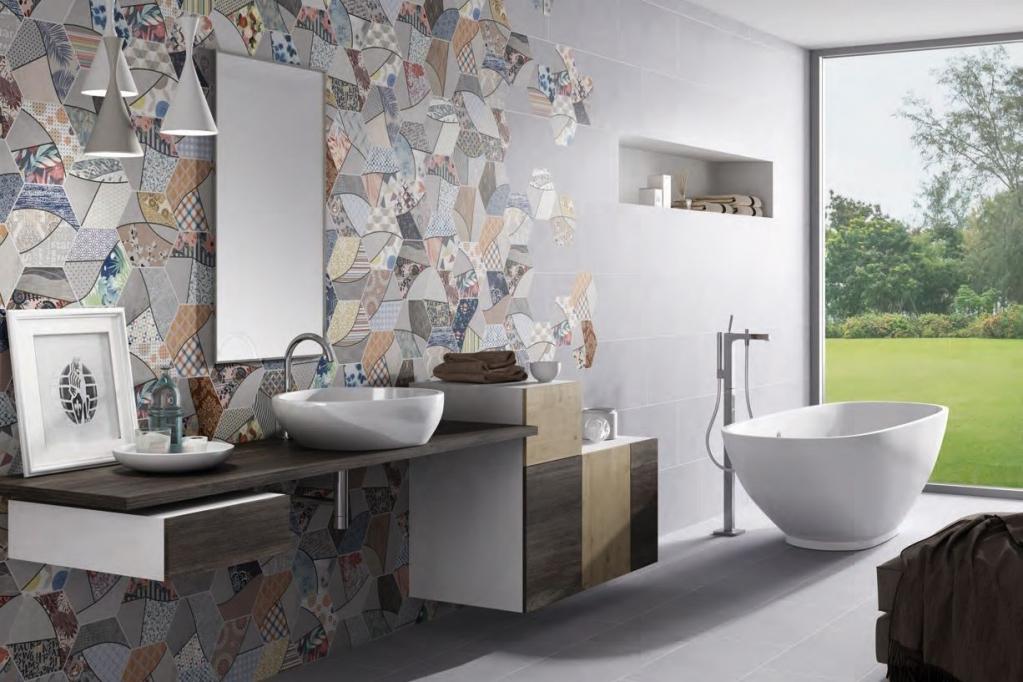 series Koupelna s designovými deskami s imitací nerovnoměrných zbytků potisků Codicer Rapsodia Mix