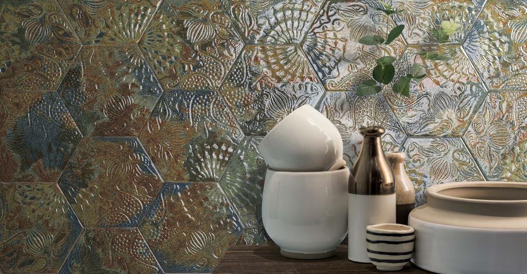series Zelený 3D obklad s výtvarnými motivy Codicer Gaudi Reactive Ocean