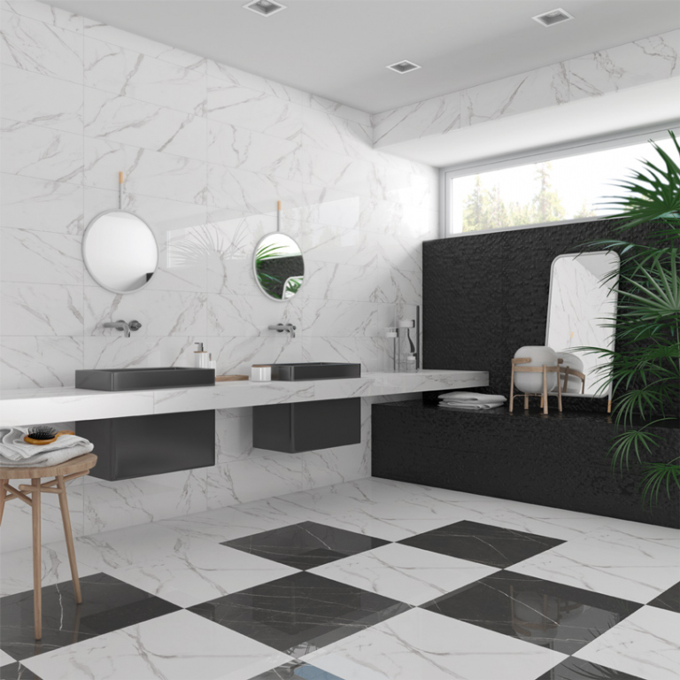 series Koupelna se vzhledem šachovnice Arcana Hope Blanco a Negro