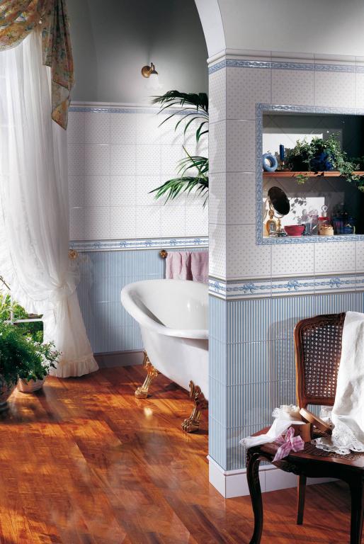 series Dekorativní modrý OBKLAD do koupelny Brennero (Fineza) Ricordi Romantica Bleu