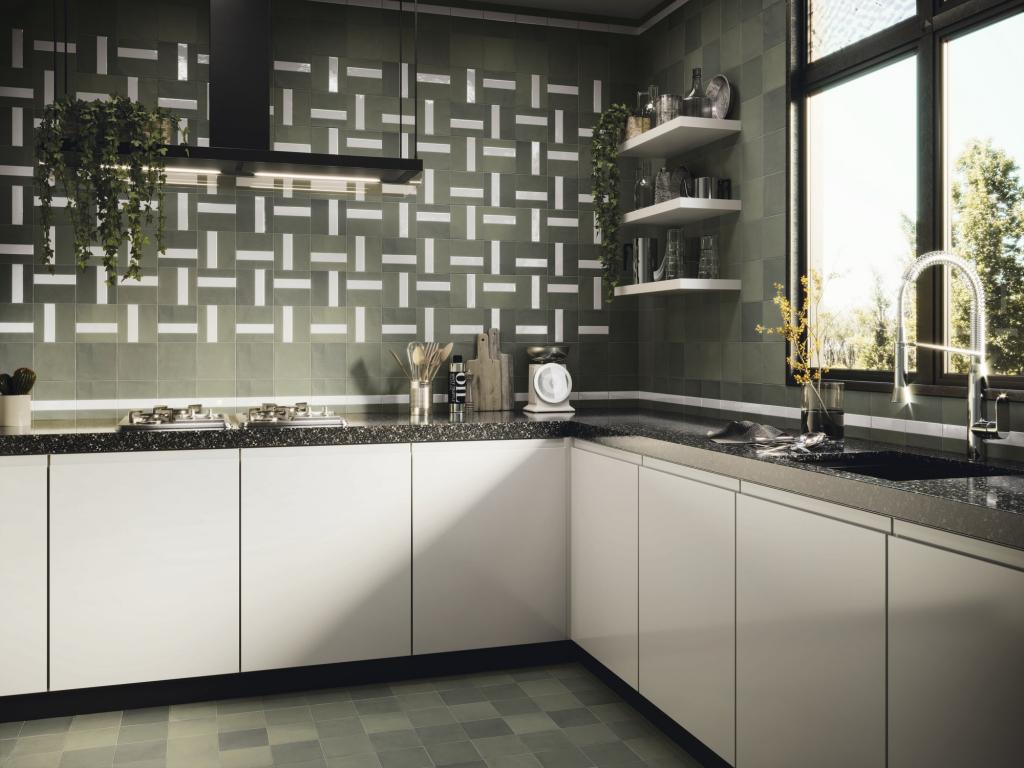series Khaki moderní obklady / dlažba APE Contemporary Forest 15x15 cm