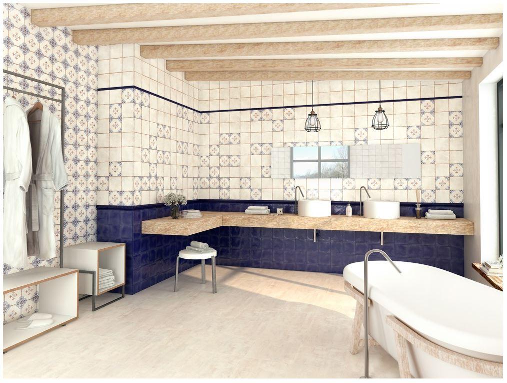 series Bílo-modré obklady do koupelny od El Barco Racine 15x15 cm