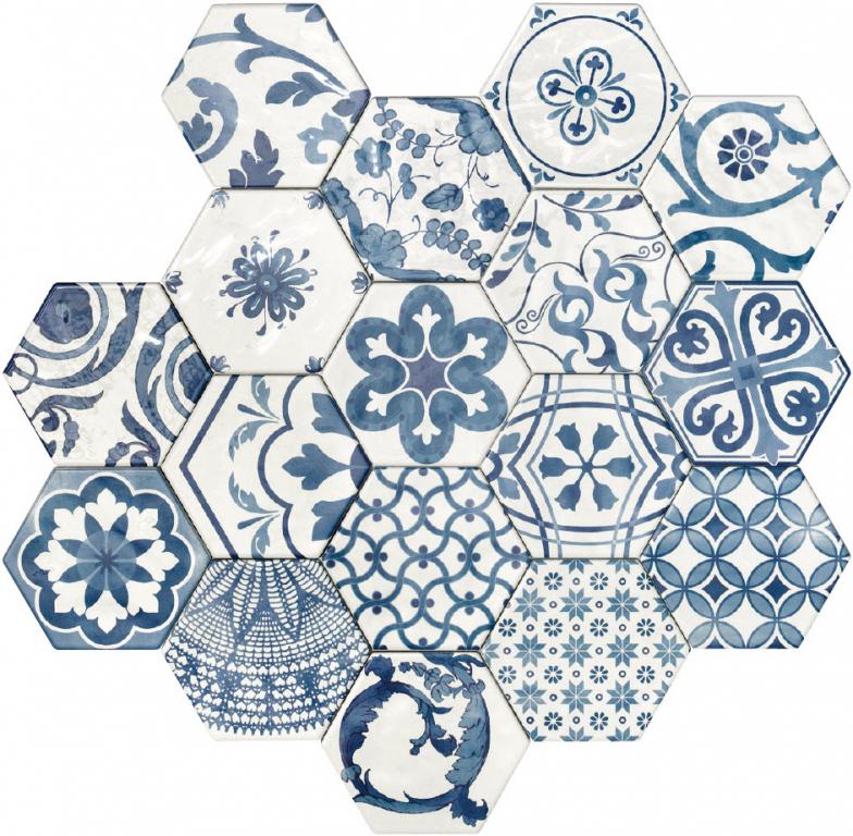 Tonalite Exabright Decoro Mix 15,3x17,5 Blu Bianco  Modrá, Bílá, Multicolor EXADEC.BIB