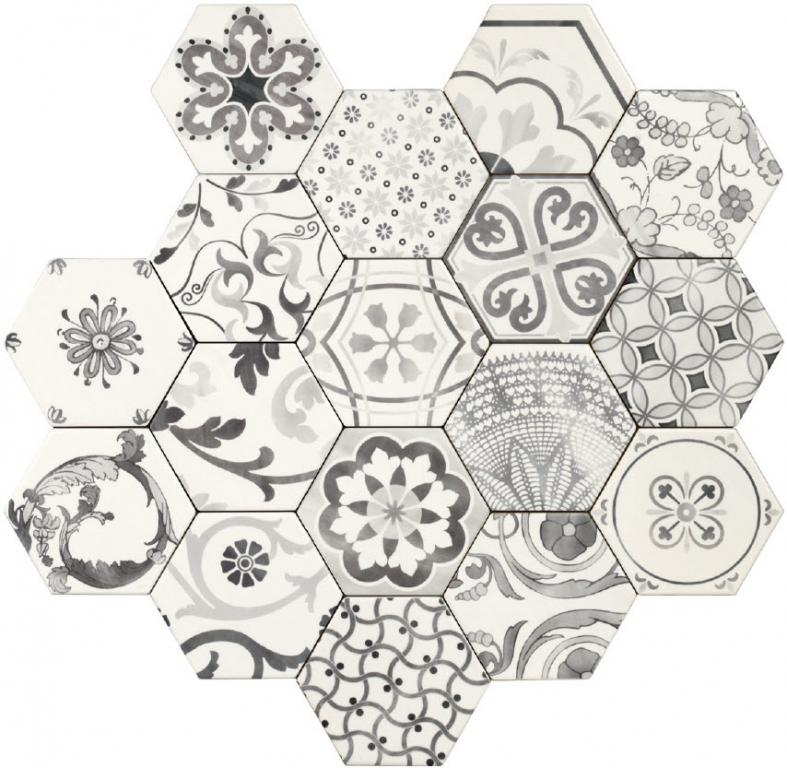 Tonalite Examatt Decoro Mix Bianco 15x17 Černá, Bílá, Multicolor, Černobílá EXAMIX.BI
