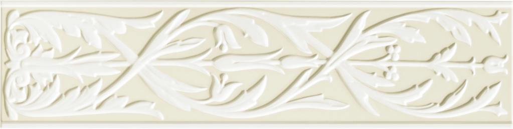 Grazia Ermi.Deco Bianco/Beige Matt 20x80 Bílá, Béžová HER11