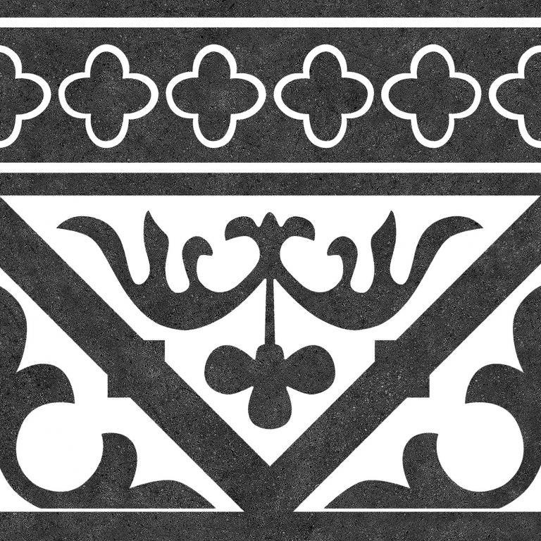 Codicer Cenefa Orleans Black 25x25 Černá, Černobílá 7159