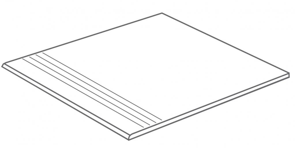 Arcana Bolano-R Step tread Gris 44,3x98,3 (schodovka) Šedá tmavá Bolano Step Gr. R.350