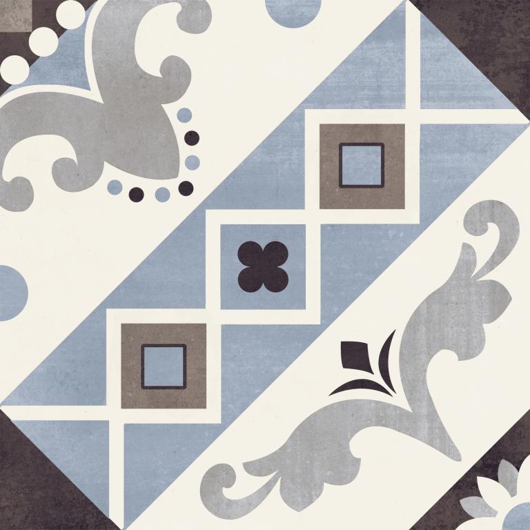 Del Conca/Faetano PR Decori Paris Belleville Blu 20x20 Modrá, Černá, Šedá, Bílá 20PR00BBA