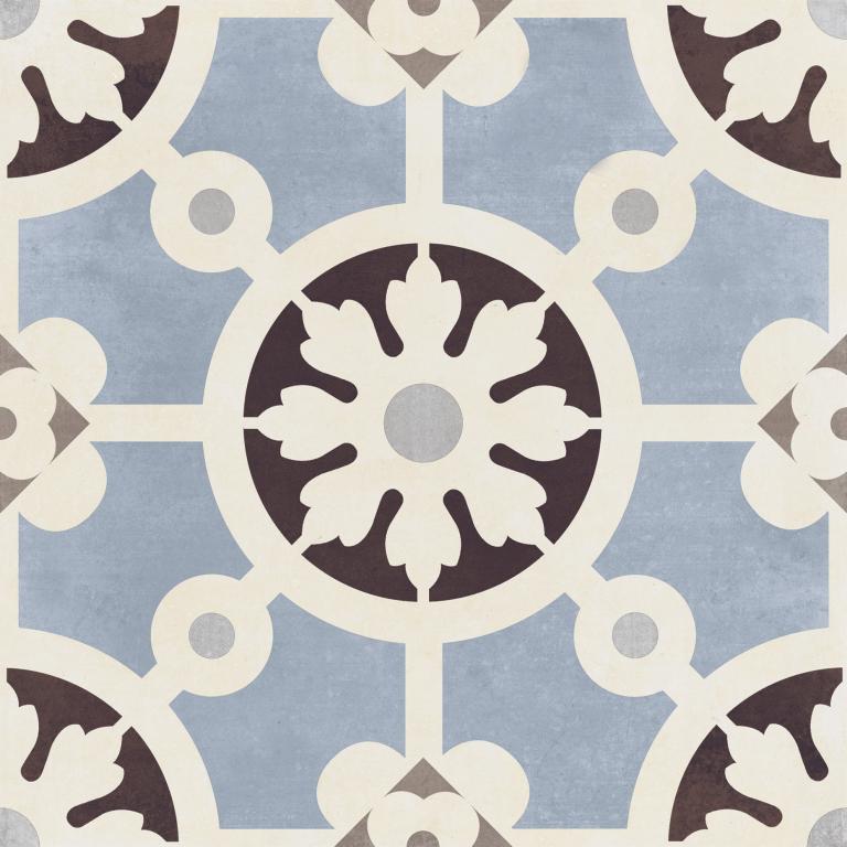 Del Conca/Faetano PR Decori Paris Bercy Blu  20x20 Modrá, Černá, Bílá 20PR00YBA