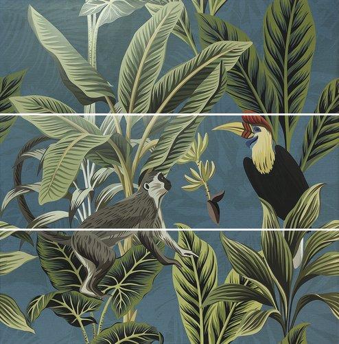 APE Silk Decor Decor Set (3) ABC Toucan Blue 40x120 Modrá, Multicolor A036263/K81
