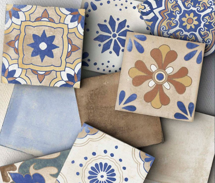 Xclusive Caribbean Mix dekorů 20,5 x 20,5 Modrá, Béžová, Krémová, Multicolor CARDEMIX